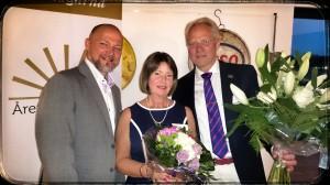 Teddy Landén tillsammans med Årets företagare i Skurup, Lusse & Mauritz Larsson från Ropack.
