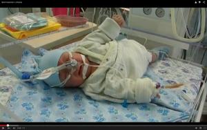 Filmscen från neonatal på sjukhuset i Lutsk