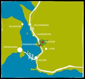karta Skåne och Danmark m ram